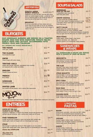 The Chopping Board Kitchen @ MOJO - 2013 Menu by Ballista