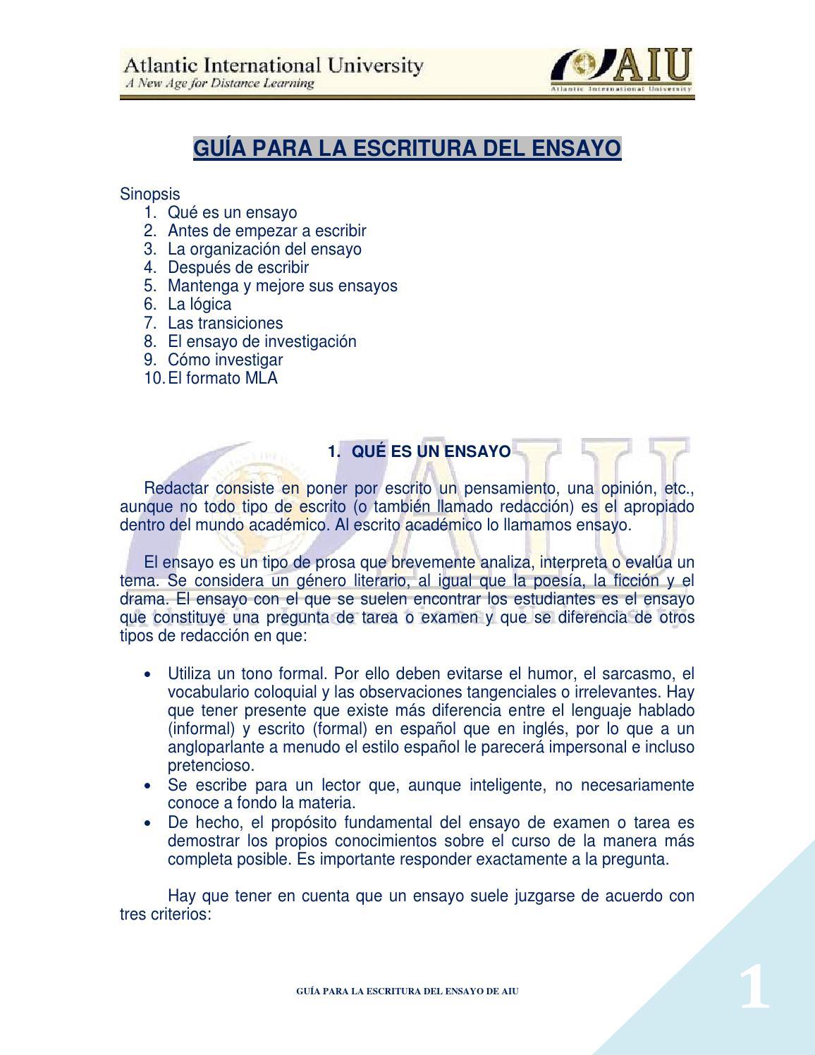 Guía para la escritura del ensayo by SFPU USAC - issuu