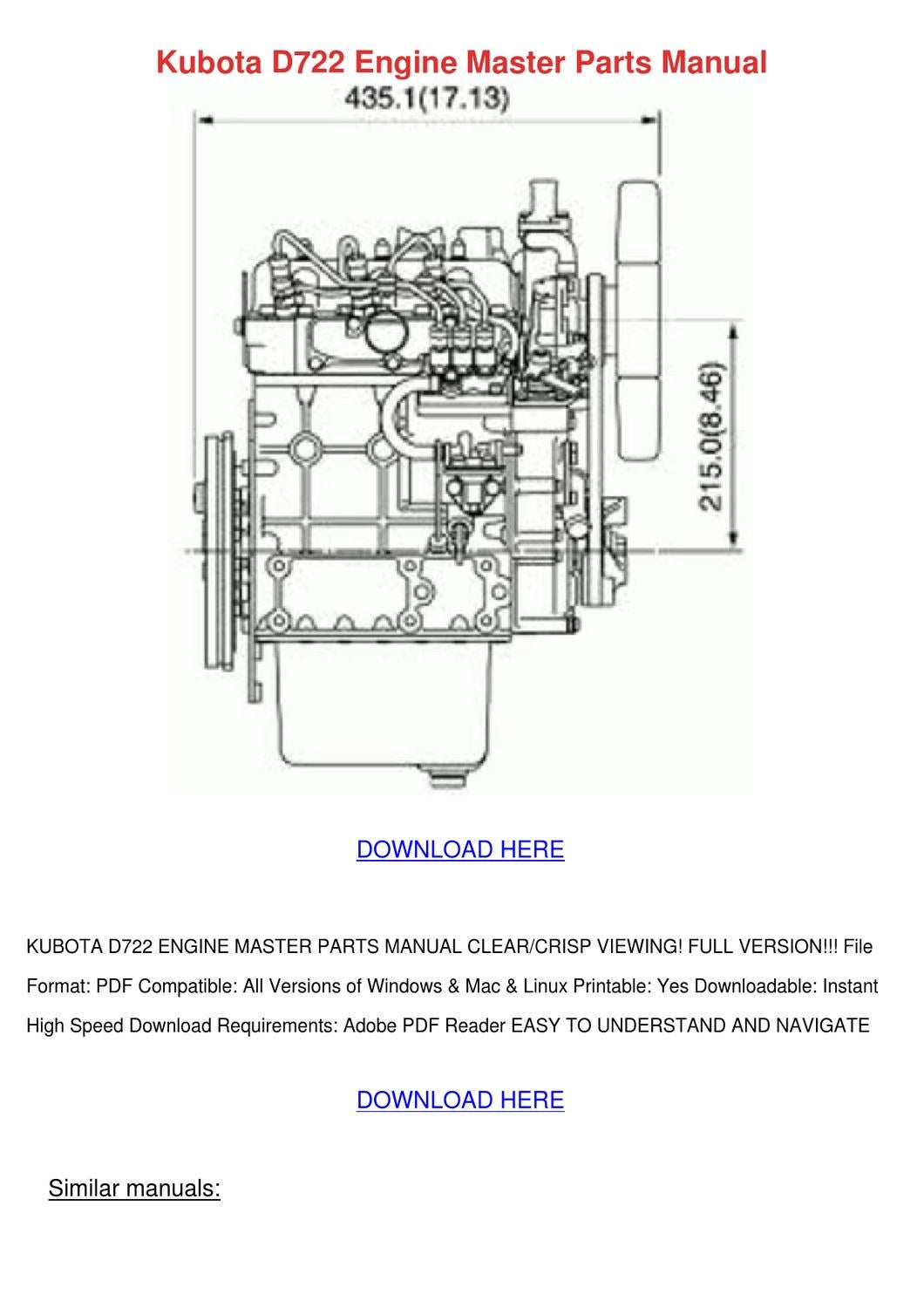Kubota D722 Engine Master Parts Manual By Elanacrutchfield