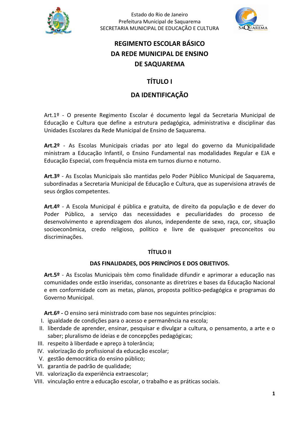 Muitas vezes Regimento básico da rede municipal de ensino saquarema1 by Evandro  SQ59