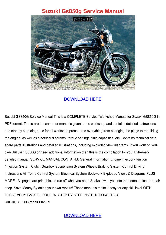 Suzuki Gs850g Service Manual by EsperanzaDenman - issuu