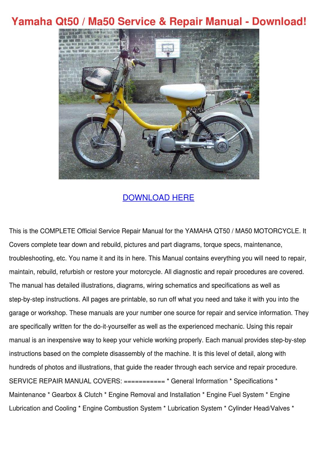 Yamaha Qt50 Ma50 Service Repair Manual Downlo By Esperanzadenman Issuu Qt 50 Wiring Diagram