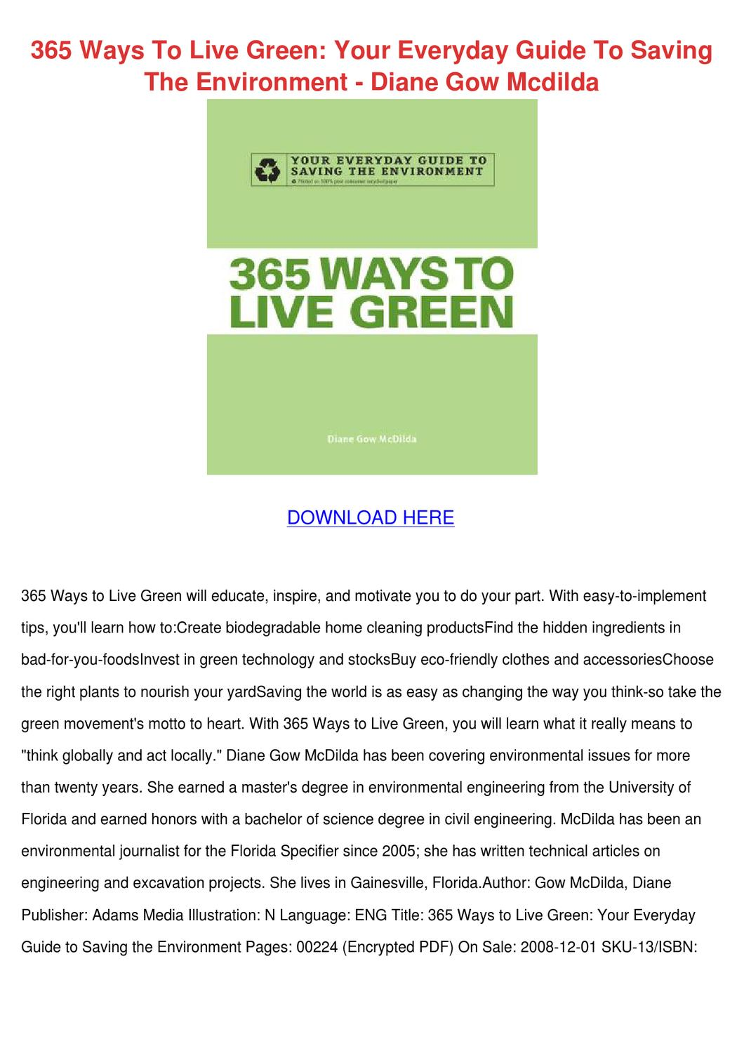 365 Ways To Live Green Your Everyday Guide To By