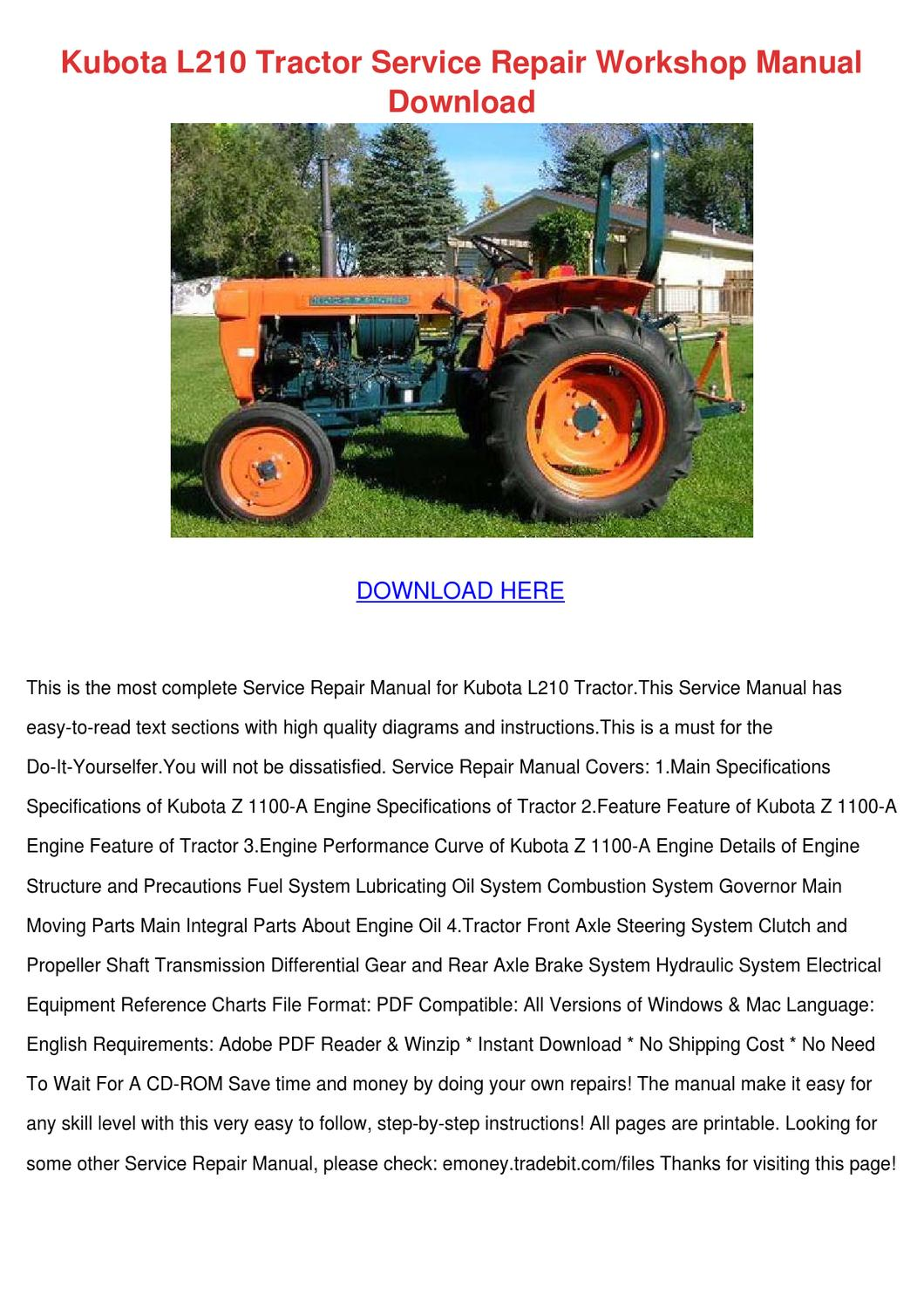Kubota L210 Tractor Service Repair Workshop M by