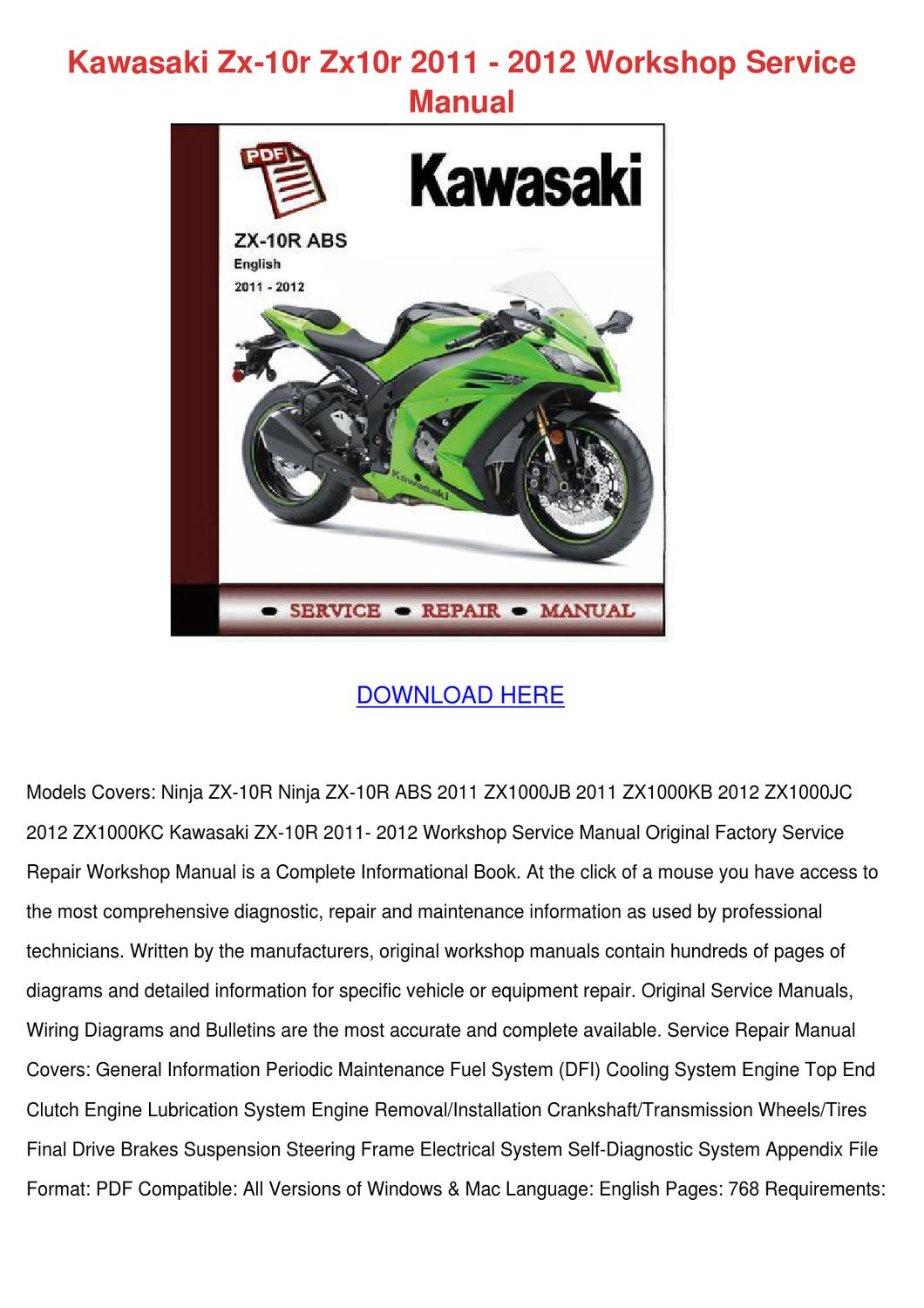 Kawasaki Zx 10r Zx10r 2011 2012 Workshop Serv by CharlieBreedlove - issuu