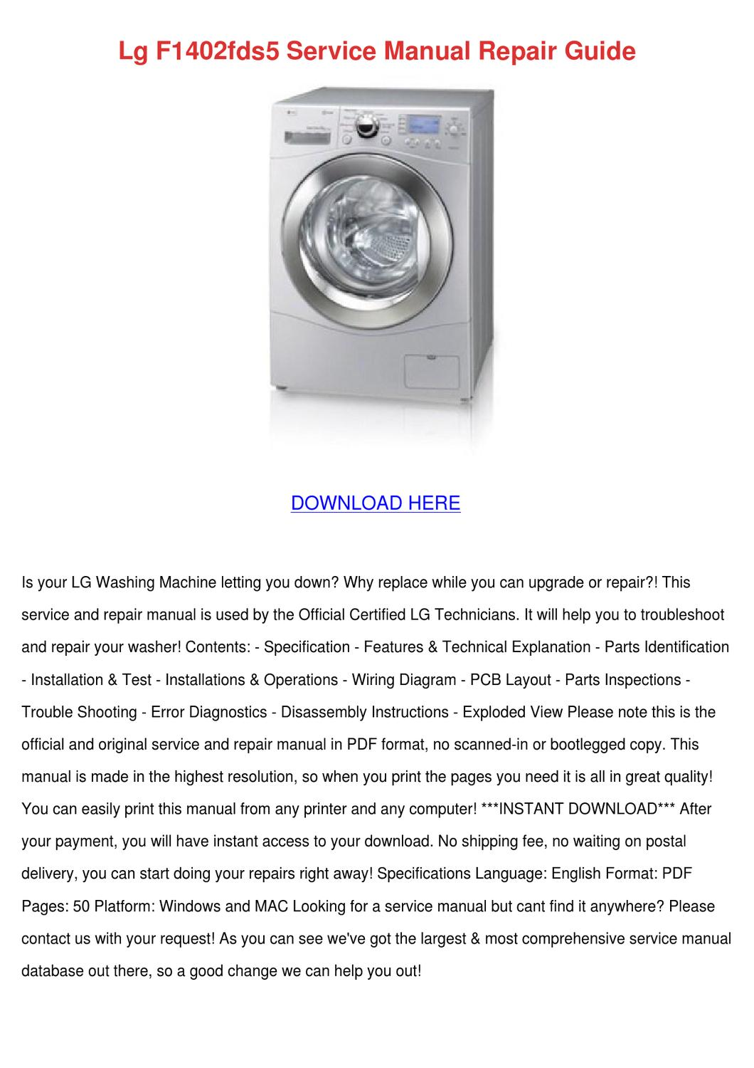 Lg F1402fds5 Service Manual Repair Guide by SylviaSledge - issuu