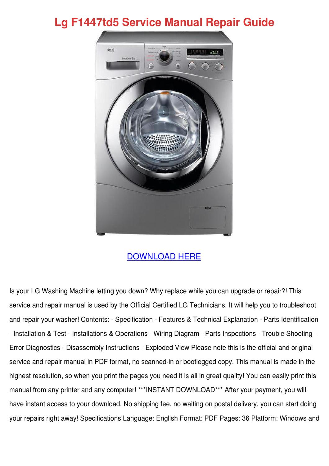 Lg F1447td5 Service Manual Repair Guide by SylviaSledge - issuu