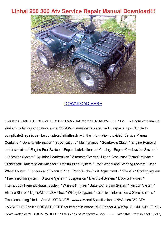 Linhai 250 360 Atv Service Repair Manual Down by CharlieBreedlove ...