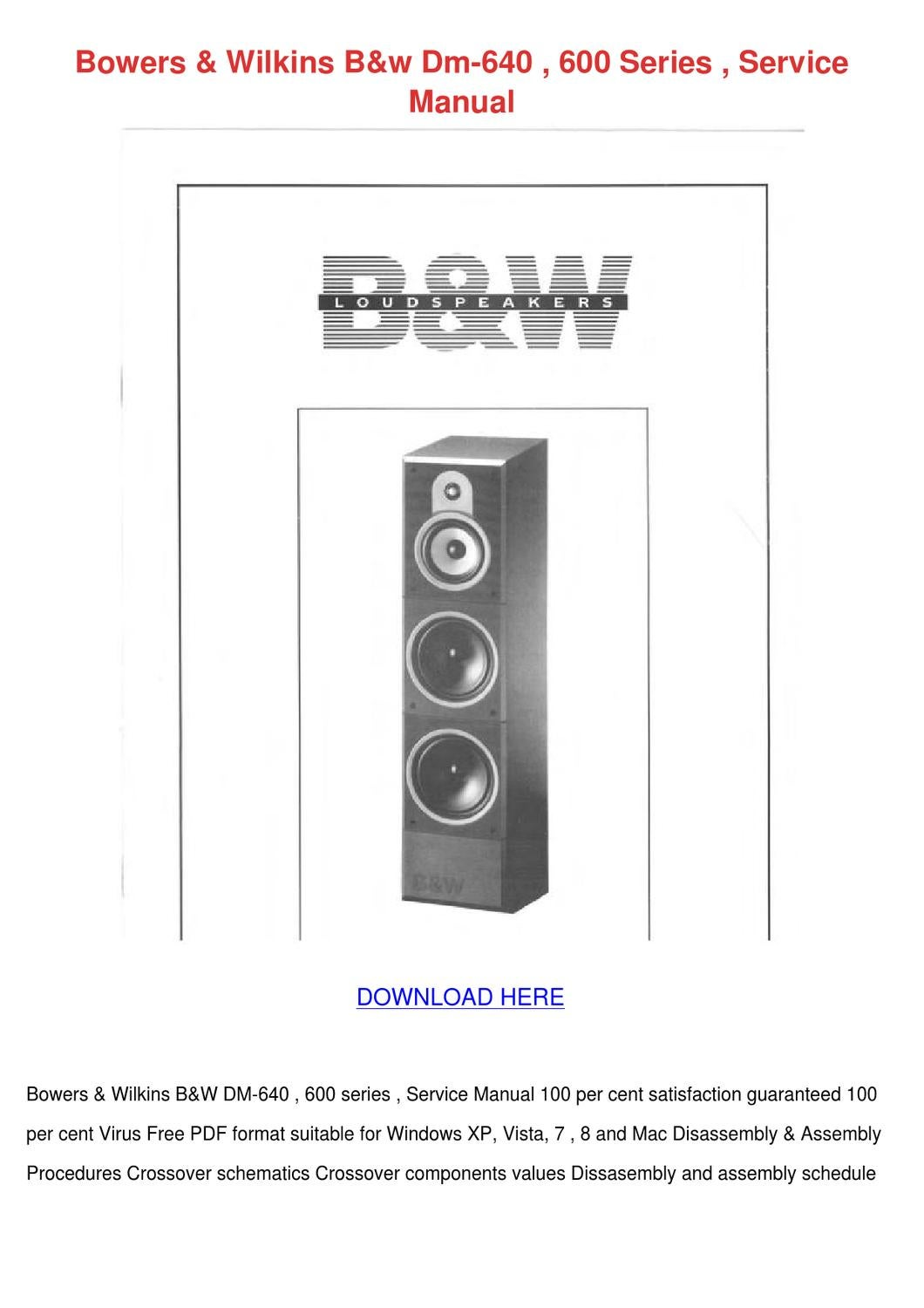 Bowers Wilkins Bw Dm 640 600 Series Service M By Barbaraashcraft