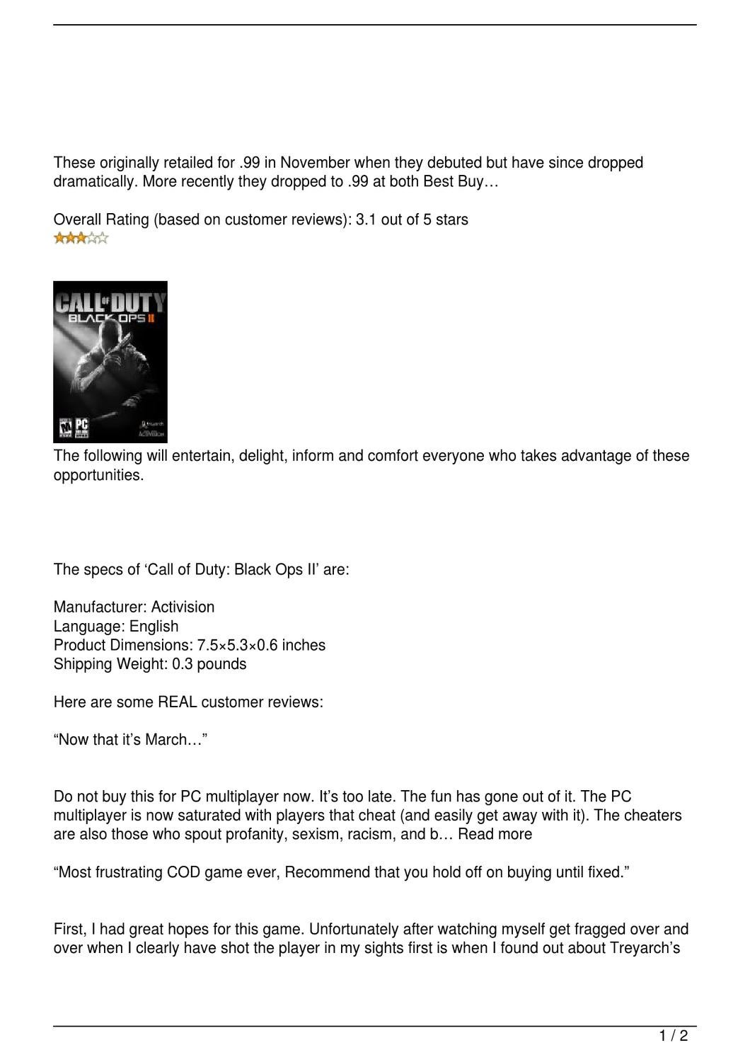 Call of Duty: Black Ops II Review by David - issuu