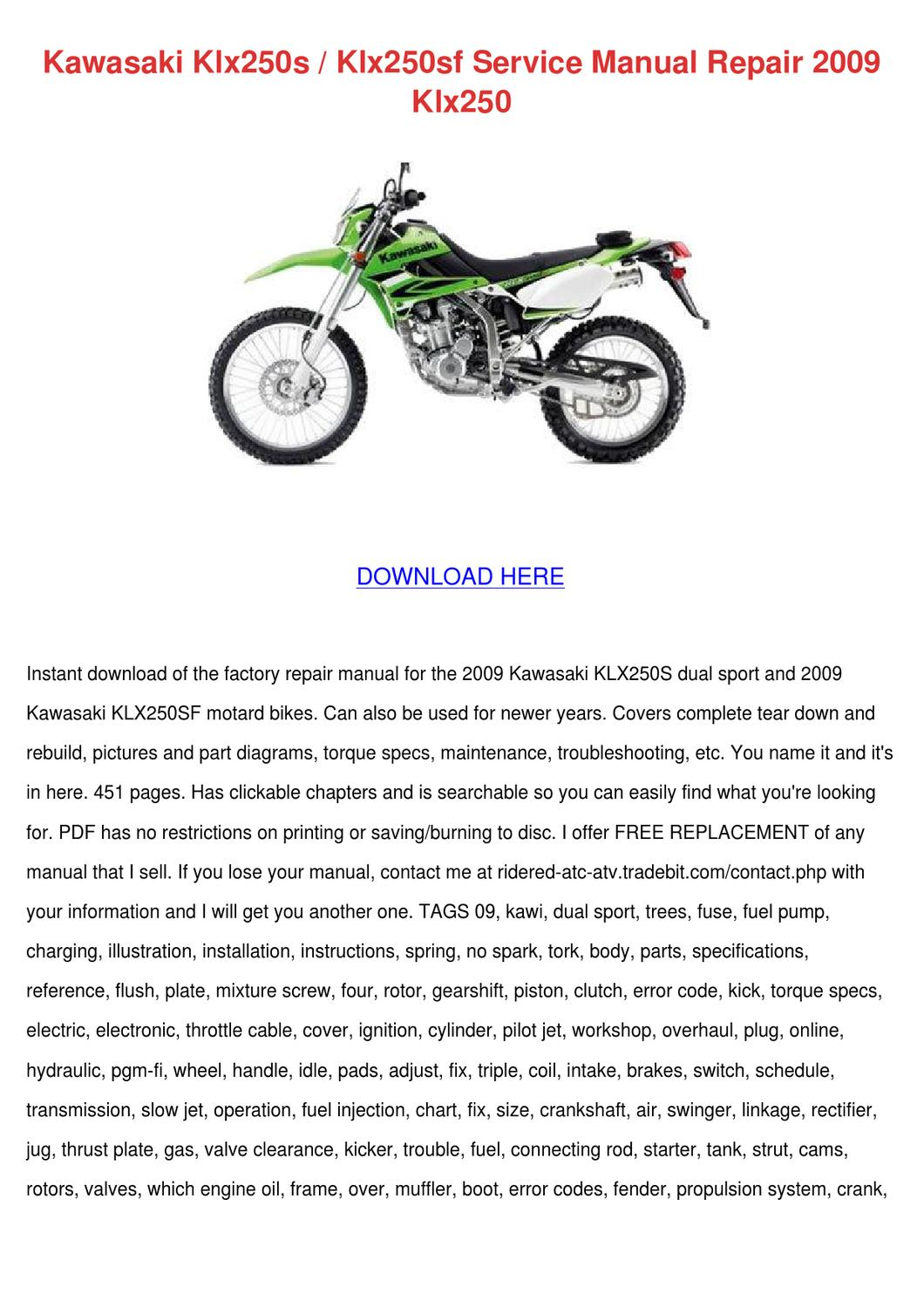 Kawasaki Klx250s Klx250sf Service Manual Repa by