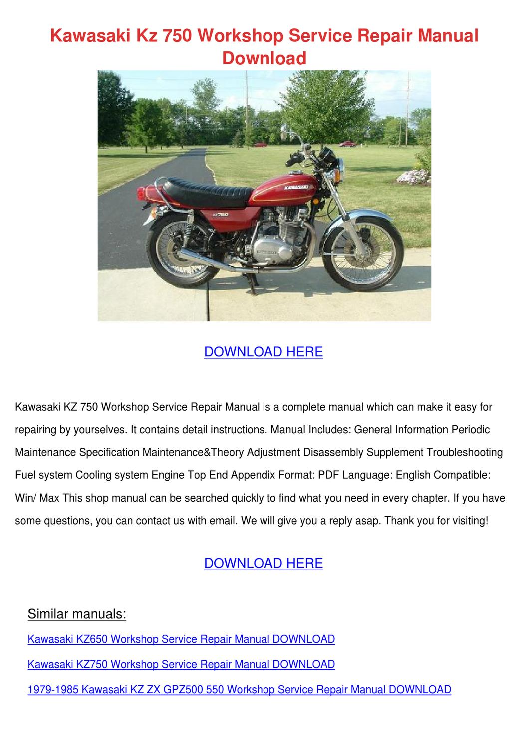 Kawasaki Gpz 750 workshop manual
