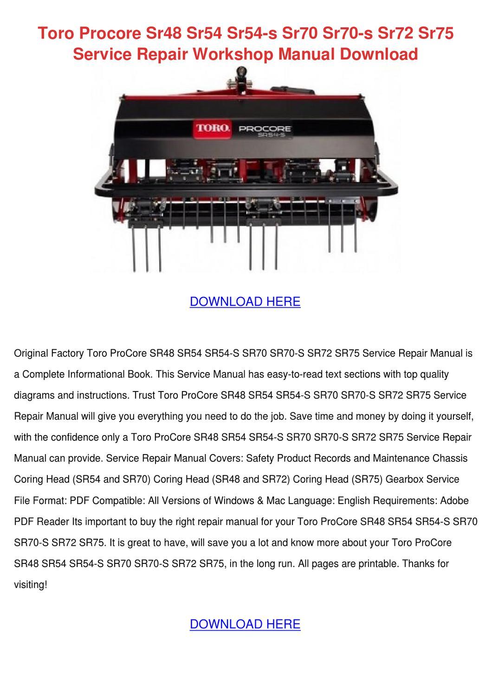 Toro Procore Sr48 Sr54 Sr54 S Sr70 Sr70 S Sr7 by EllaDang - issuu