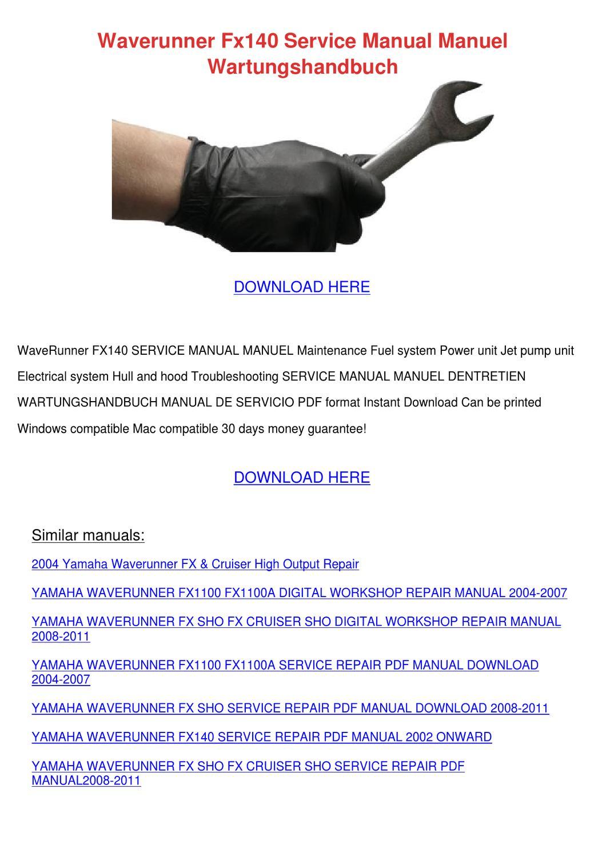 Waverunner Fx140 Service Manual Manuel Wartun by EllaDang