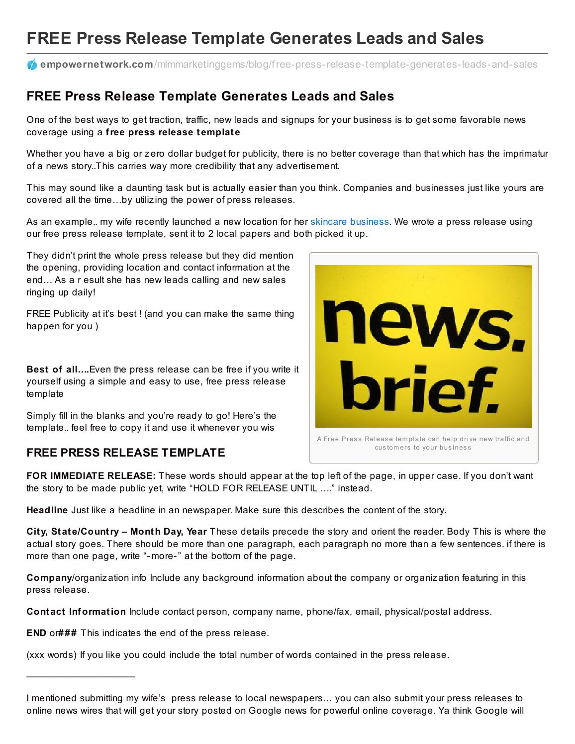 Free Press Release Template Generates Leads And Sales By Dr B Issuu