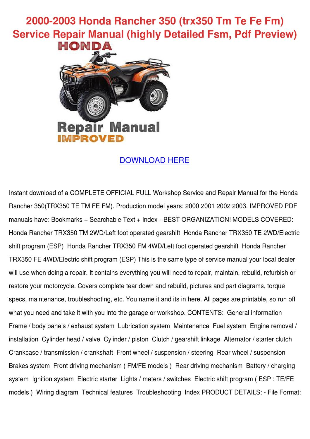 2000 2003 Honda Rancher 350 Trx350 Tm Te Fe F By Emilydenning Issuu Wiring Diagram For 03