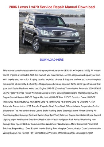 2009 lexus lx570 service repair manual software