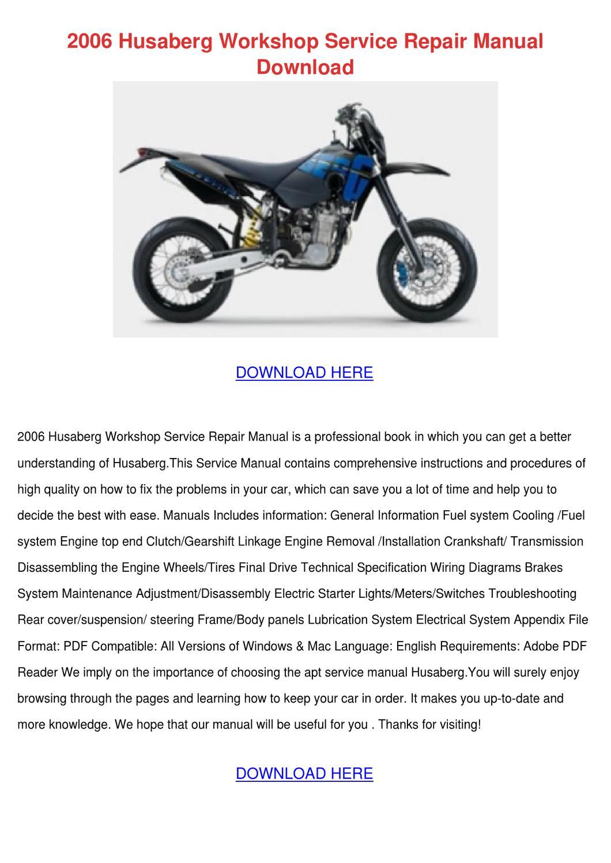 Husaberg Engine 2001 Factory Service Repair Manual