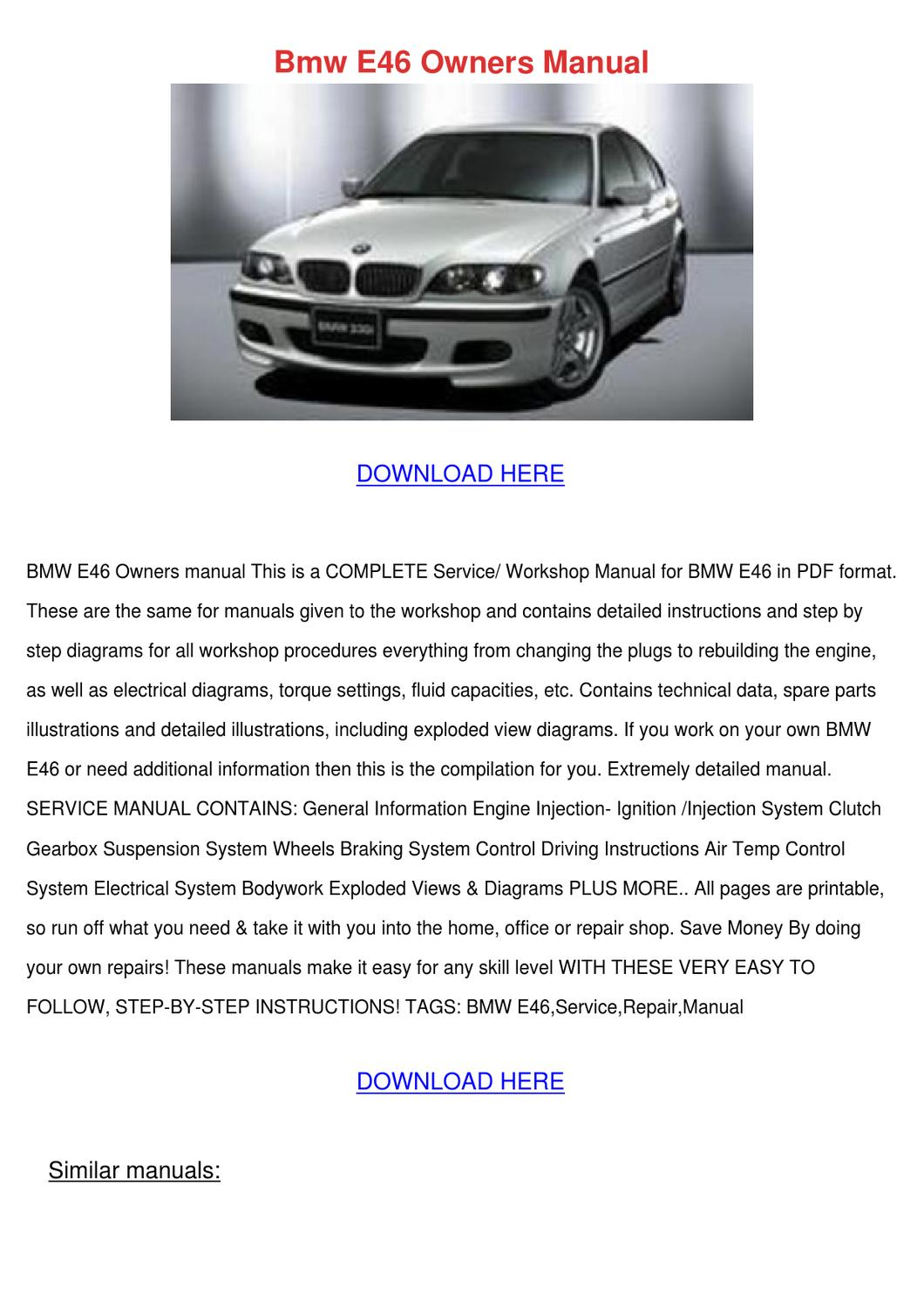 Bmw E46 Owners Manual by GraceFincher - issuu