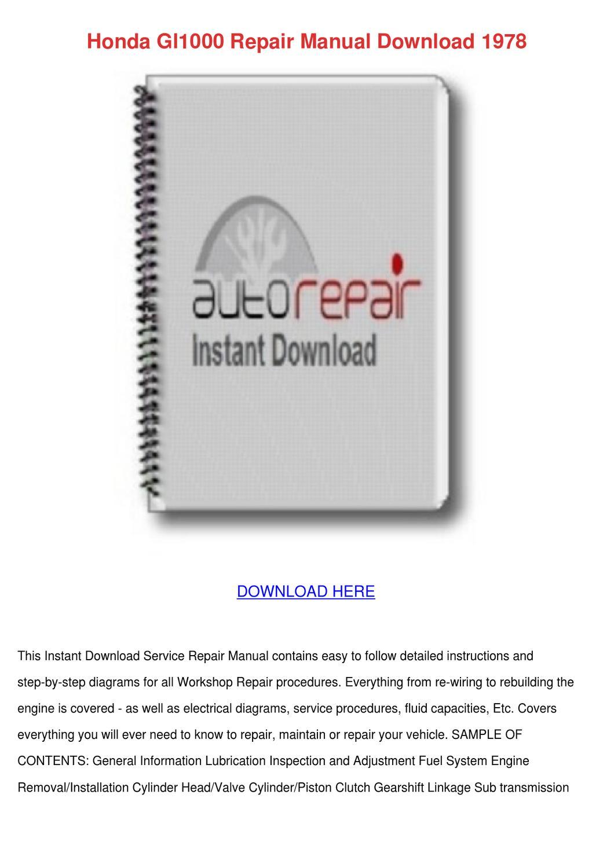 honda gl1000 repair manual download 1978 by billyballard
