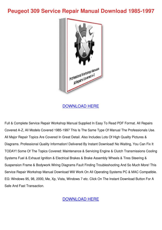 peugeot 309 service repair manual download 19samantharosado, Wiring diagram