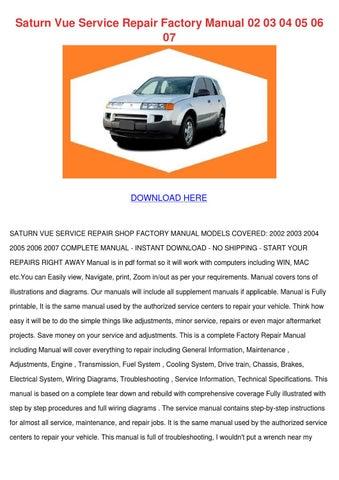 2007 saturn vue repair manual pdf