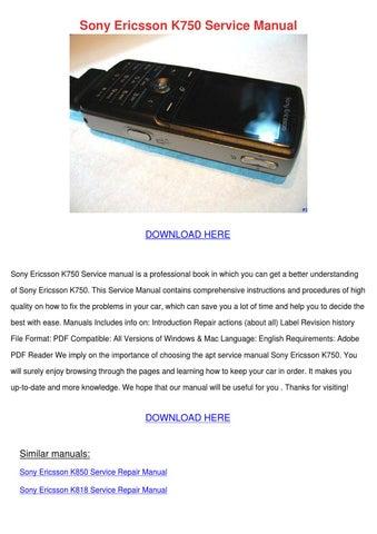 sony ericsson k750 service manual by erickadoolittle issuu rh issuu com
