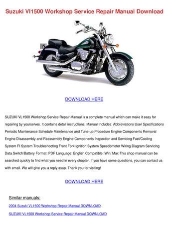 suzuki vl1500 workshop service repair manual by erickadoolittle issuu rh issuu com 1998 Suzuki VL 1500 LC 2000 Suzuki VL 1500 Specs