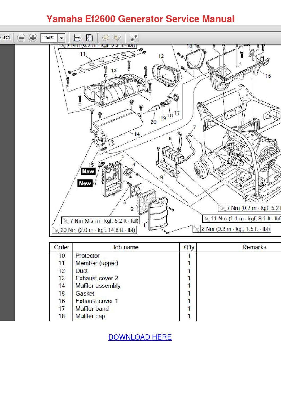 Yamaha Ef2600 Generator Service Manual By Erickadoolittle