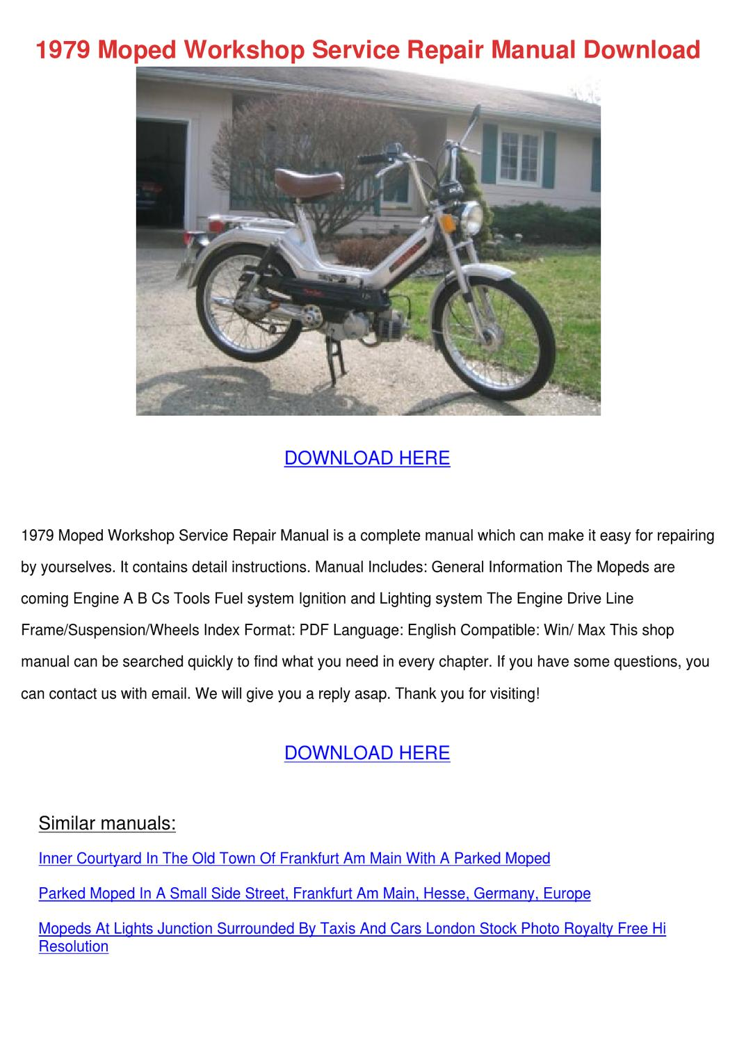 1979 Moped Workshop Service Repair Manual Dow by MaxMcnally - issuu