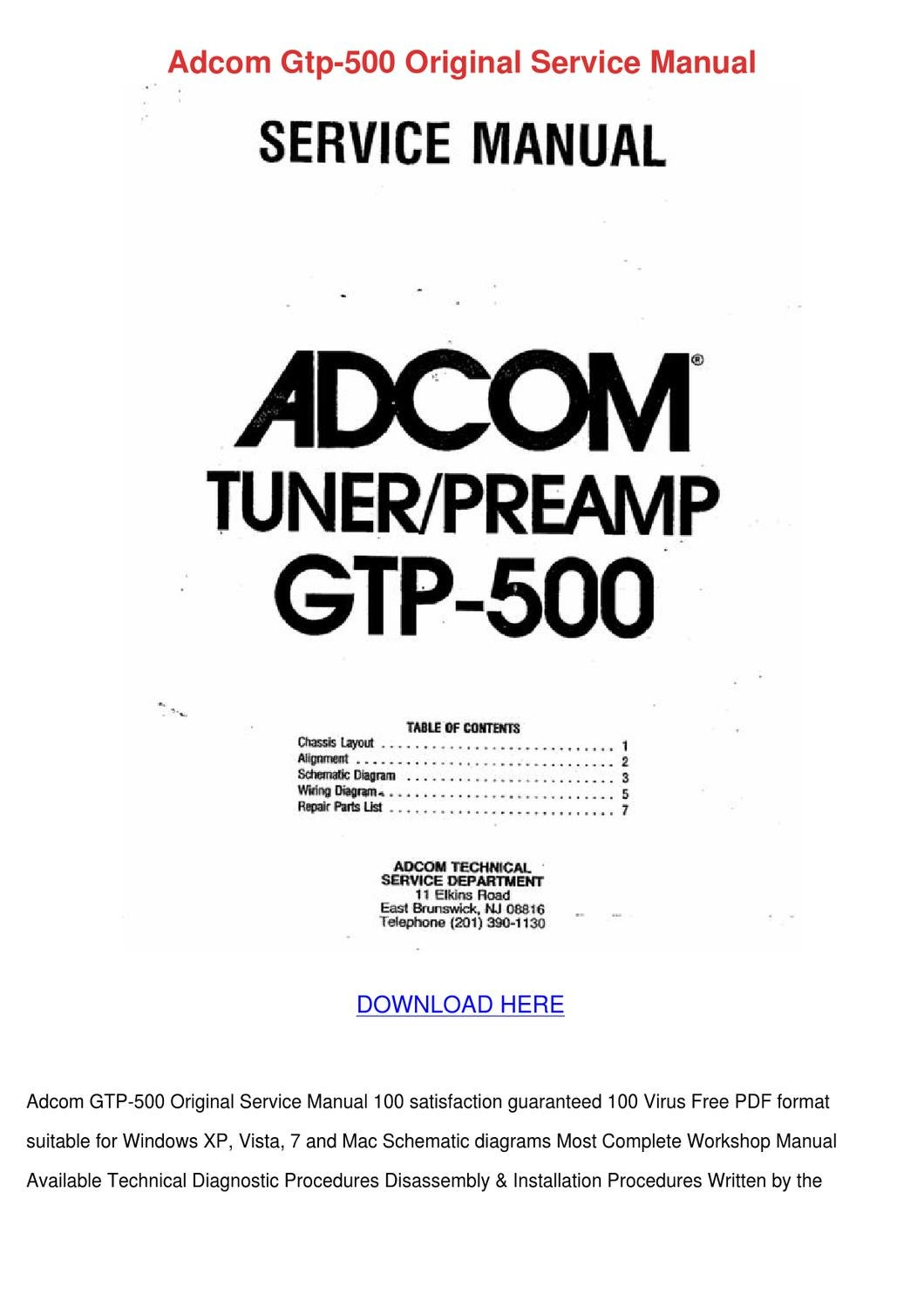 Adcom Gtp 500 Original Service Manual By Maxmcnally Issuu Wiring Diagram For Workshop Free Download Schematic