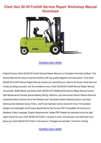 clark gex 20 30 forklift service repair works by. Black Bedroom Furniture Sets. Home Design Ideas