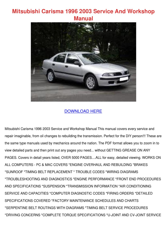 Mitsubishi Carisma 1996 2003 Service And Work By Reginaprado