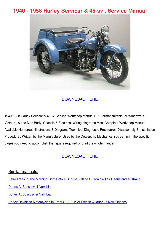 1940 1958 Harley Servicar 45 Sv Service Manua By Lisaleyva