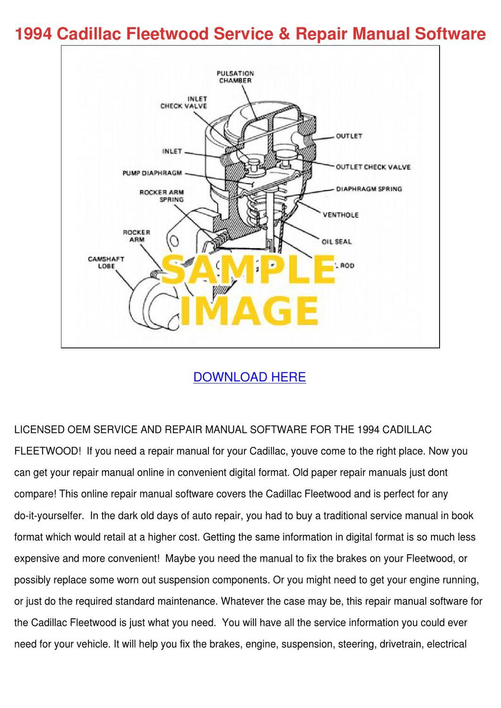 1994 Cadillac Fleetwood Service Repair Manual by LisaLeyva - issuu
