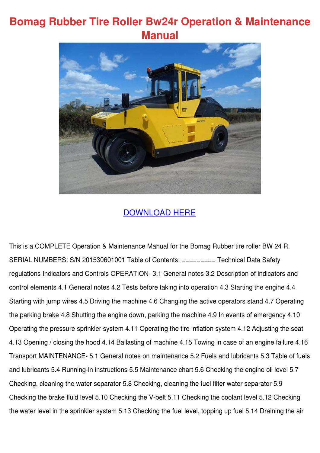 Bomag Rubber Tire Roller Bw24r Operation Main by ArmandoAlonso - issuu