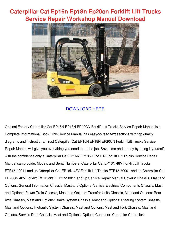 Caterpillar Ep18n Forklift Manual