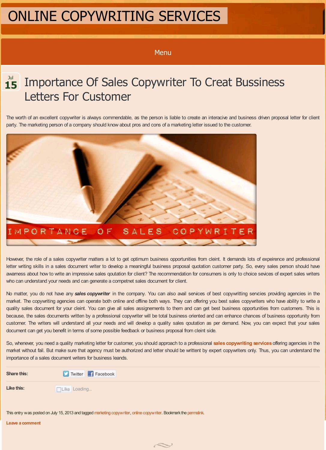 Importance Of Sales Copywriter To Creat Bussiness Letters For