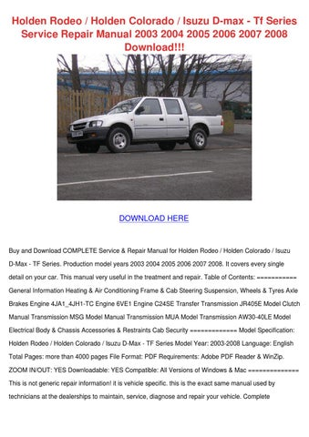 Holden Rodeo Holden Colorado Isuzu D Max Tf S By border=