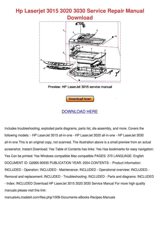 Hp Laserjet 3015 3020 3030 Service Repair Man by GertrudeFinn - issuu