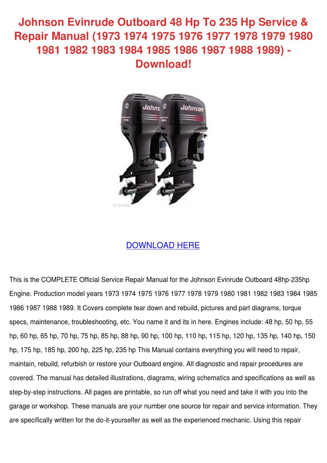 1973 evinrude 135 wiring diagram johnson evinrude outboard 48 hp to 235 hp ser by gertrudefinn issuu  johnson evinrude outboard 48 hp to 235
