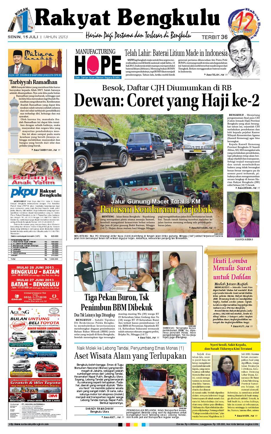 15 Juli 2013 By Rakyat Bengkulu Rb Issuu Produk Ukm Bumn Jus Durian Lite Kuning Omah Duren
