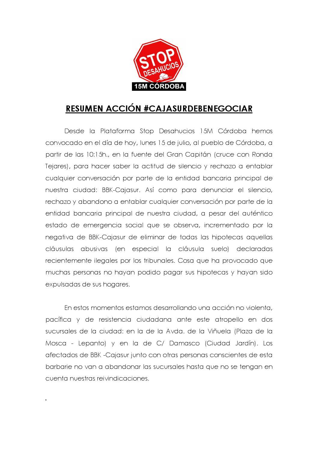 Objetivos de la acci n cajasurdebenegociar by stop for Denunciar clausula suelo