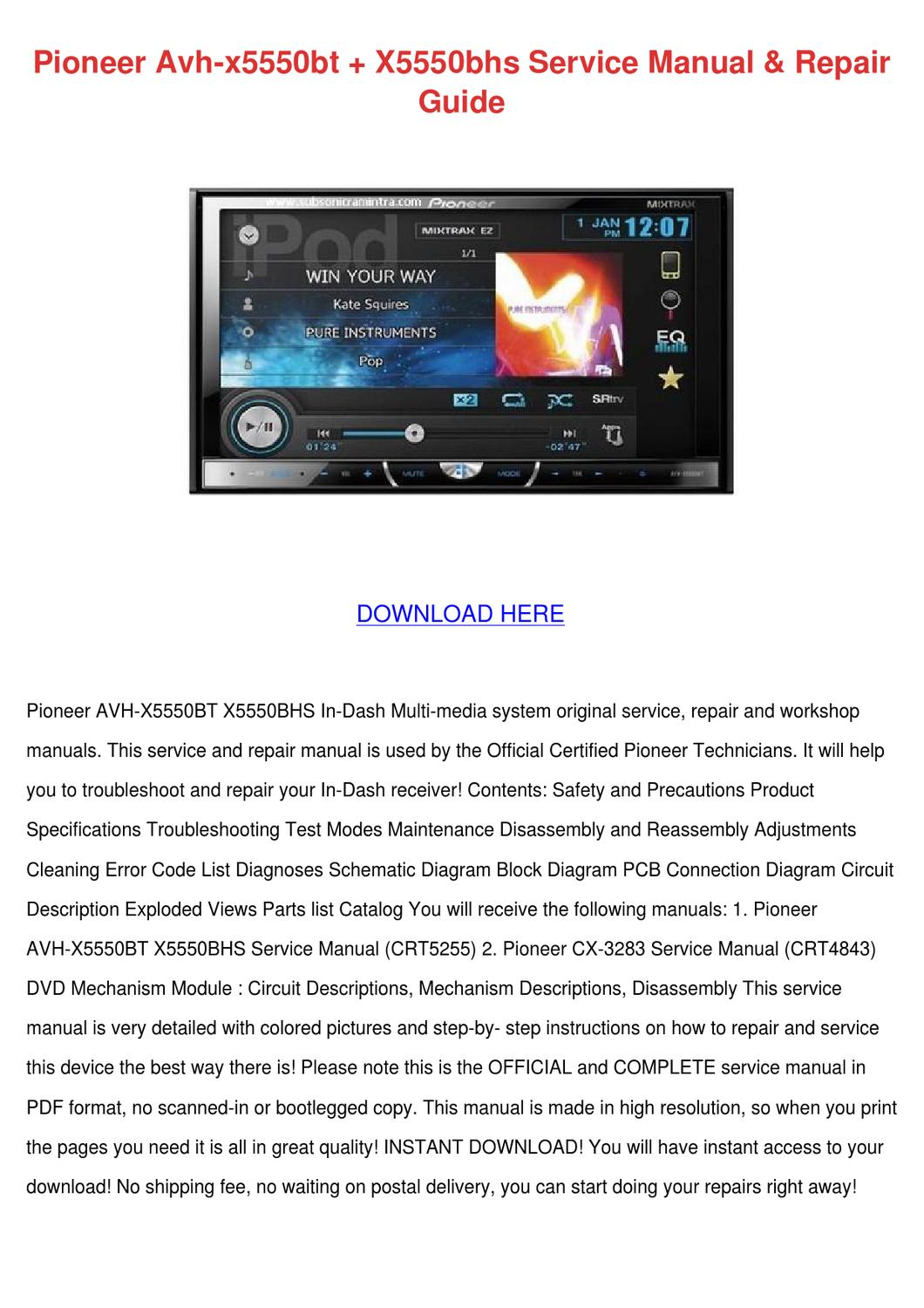 page_1 pioneer avh x5550bt x5550bhs service manual r by kaseyhoyt issuu pioneer avh-x5550bt wiring diagram at mifinder.co