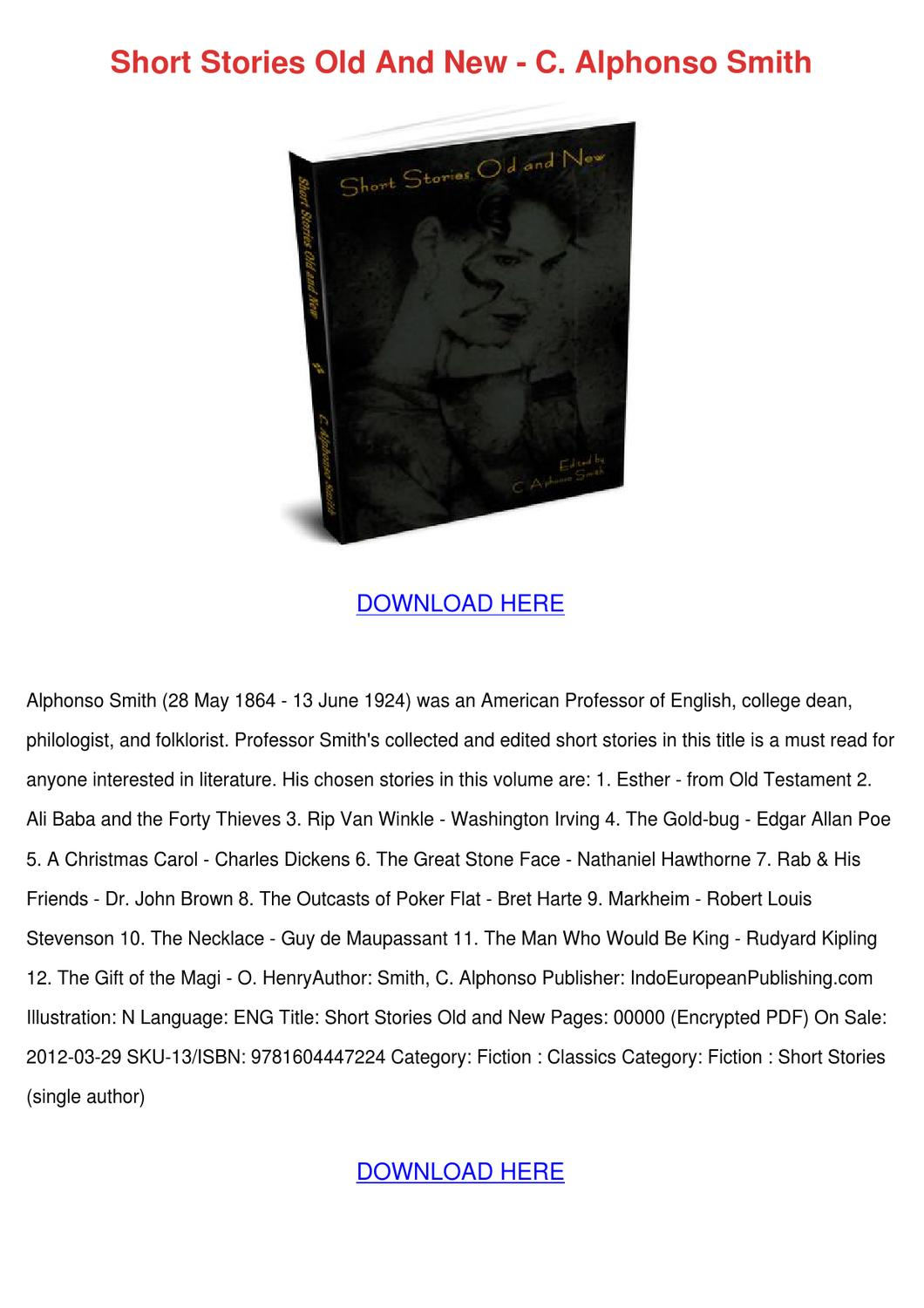 Short Stories Old And New C Alphonso Smith by ...