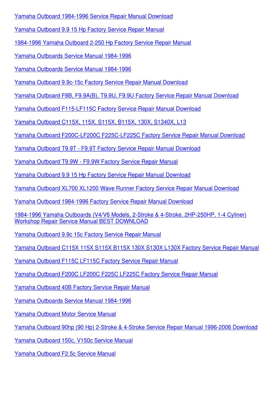 Yamaha Outboard F115 Lf115c Factory Service R By