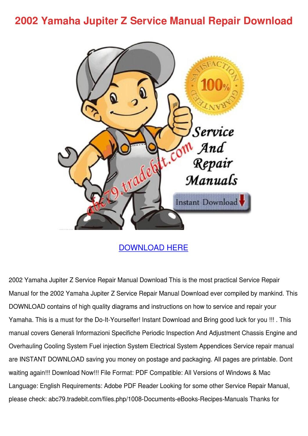 2002 Yamaha Jupiter Z Service Manual Repair D By