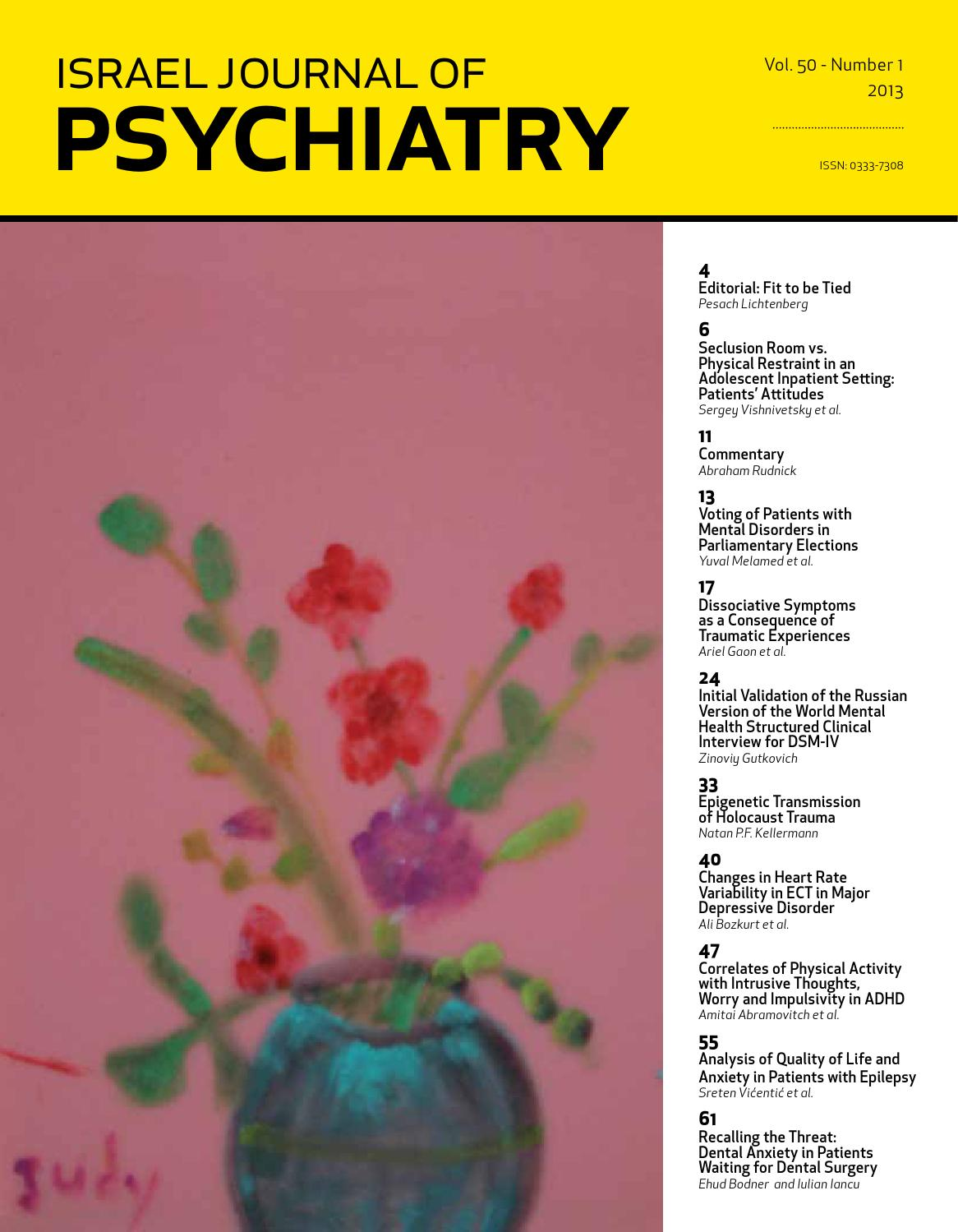 Israel Journal of Psychiatry and Related Sciences by MEDIC - issuu