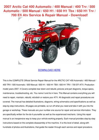 2007 arctic cat 400 automatic 400 manual 400 by katehong issuu. Black Bedroom Furniture Sets. Home Design Ideas