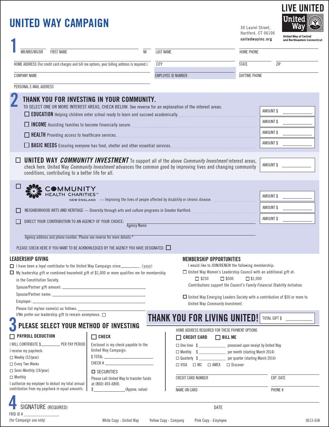 United Way Campaign Pledge Form 2013 By United Way Of